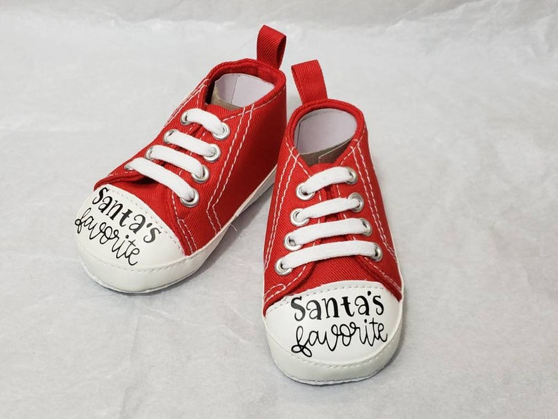 Santa's Favorite Red Baby Soft Shoes Baby Christmas Soft image 0