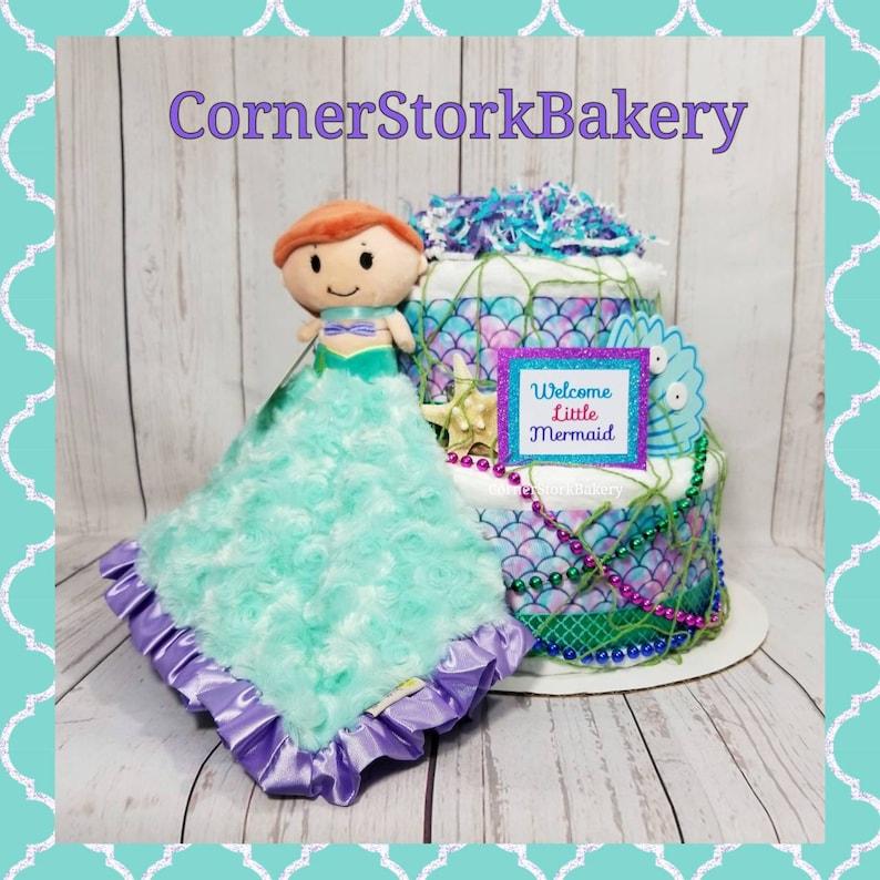 Mermaid Diaper Cake Mermaid Baby Shower Mermaid Baby Gift image 0