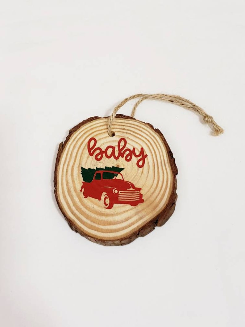 Red Truck Baby's First Christmas Ornament Baby Red Truck image 0
