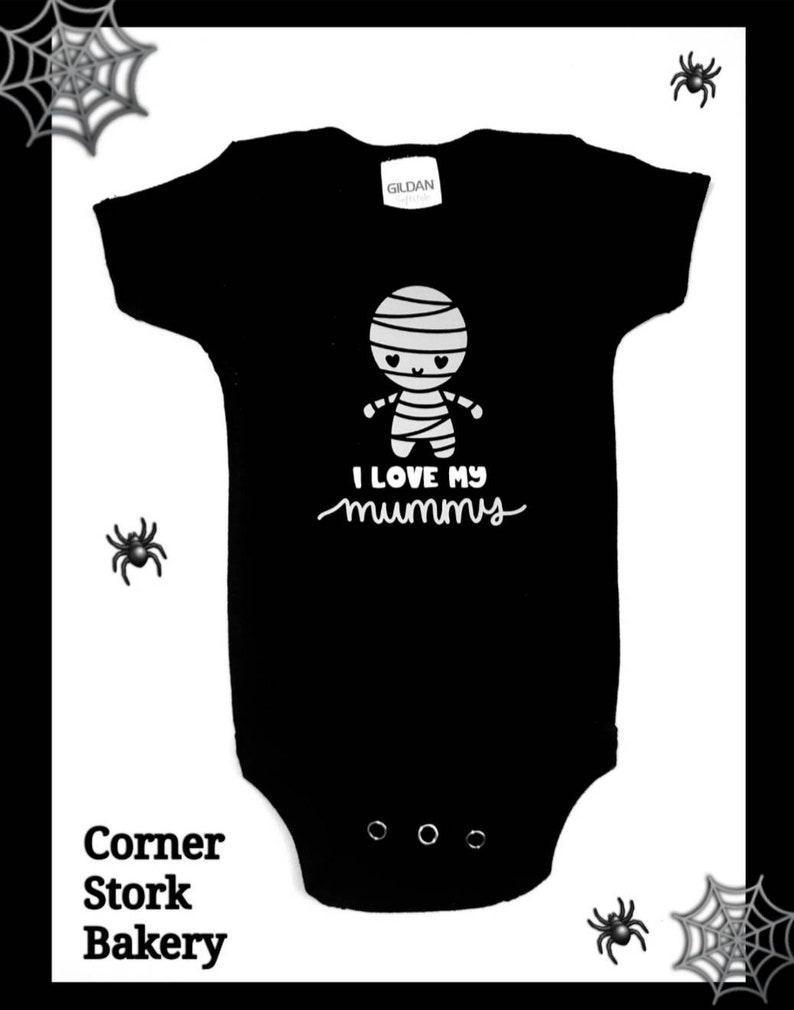 I Love My Mummy Bodysuit Halloween Baby Gift Baby Bodysuit image 0