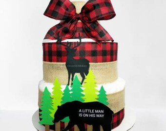 Outdoor Diaper Cake, Forest Animals Diaper Cake, Bear Diaper Cake, Baby Cub Diaper Cake, Deer Diaper Cake, Hunting Diaper Cake, Baby Shower