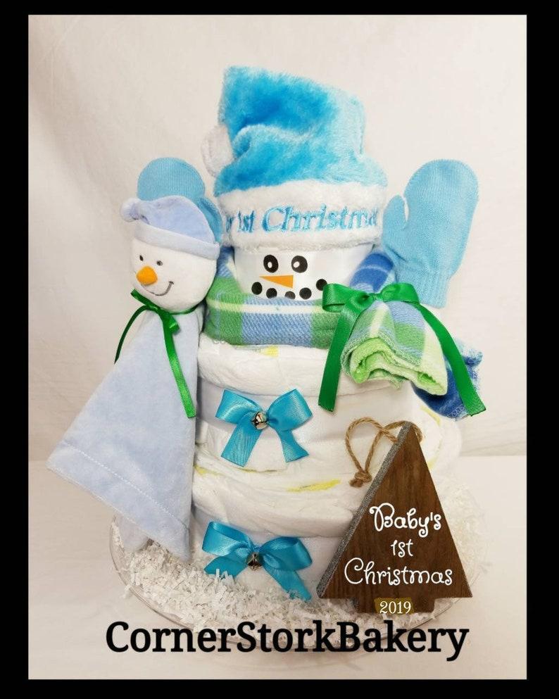 Snowman Diaper Cake Boys Snowman Diaper cake Christmas image 0