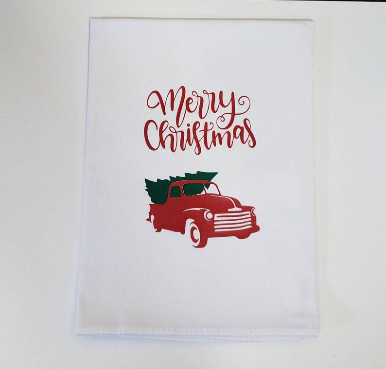 Red Truck Merry Christmas Kitchen Tea Towel Christmas Kitchen image 0