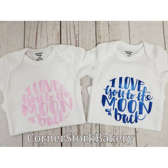 01974d5257 I love you to the moon Onesie Love You Baby Gift Twin