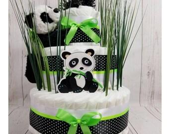 Panda Diaper Cake, Panda Baby Shower, Panda Baby Shower Centerpiece, Diaper Cake, Neutral Gender Baby Gift, Centerpiece, Baby Shower Gift