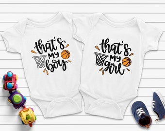 That's My Boy & That's My Girl Matching Basketball Bodysuits, That's My Boy and Girl Twin Bodysuits, Twin Baby Gifts, Twins Gift