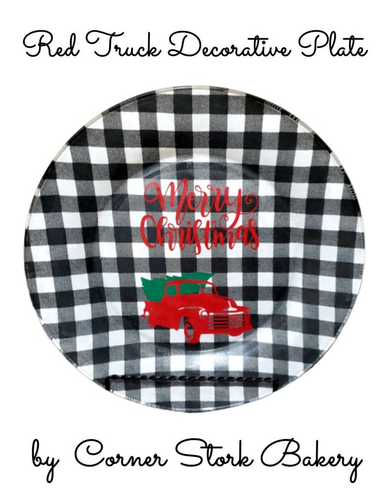 Red Truck Merry Christmas Plate Red Truck Glass Plate image 0
