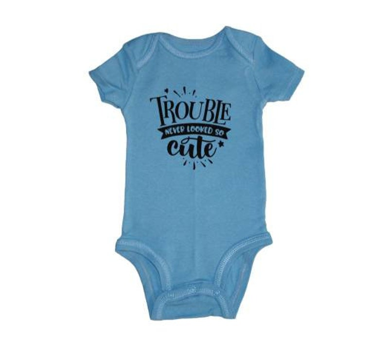 Trouble Never Looked So Cute Bodysuit Baby Baby Bodysuit image 0
