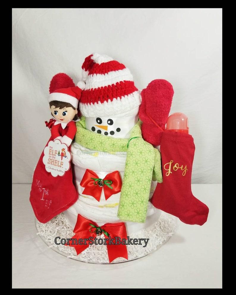 Snowman Diaper Cake Snowman And Elf Diaper Cake Elf Diaper image 0
