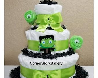 Mommy's Lil' Monster Diaper Cake, Little Monster Diaper Cake, Lil' Monster Diaper Cake, October Baby, Halloween Diaper Cake, Baby Gift, Baby