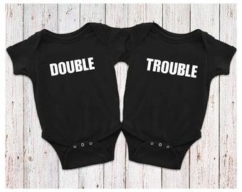 Double Trouble Matching Bodysuits, Double Trouble Twin Bodysuits, Twins Baby Gift, Twins Gift, Double Trouble
