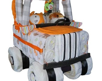 Jeep Diaper Cake, Fox Jeep Diaper Cake, Neutral Gender Diaper Cake Jeep, Baby, Baby Shower Gift, Baby Shower Centerpiece, Baby Gift, Baby