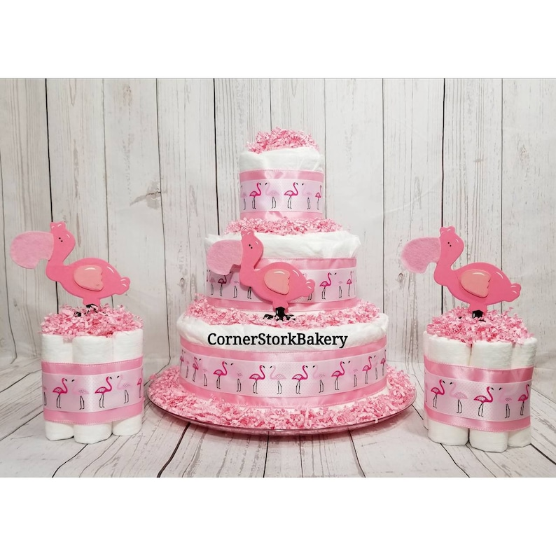 Flamingo Diaper Cake Set Let's Flamingle Baby Girl image 0