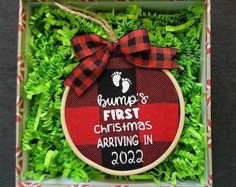 Bumps First Christmas Ornament, Hoop Ornament, Pregnancy Announcement Ornament, Baby Announcement, Hoop Christmas Ornament, Christmas Gift