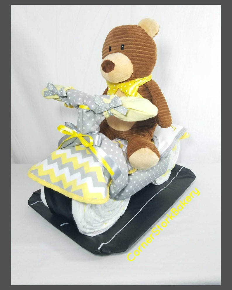 Motorcycle Diaper Cake Bike Diaper Cake Baby Shower Gifts image 0