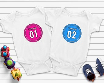 Twin One And Twin Two Matching Twin Bodysuits, Twin One Twin Two Bodysuits, Twins Baby Gift, Twins Gift, Twin Bodysuits, Twins