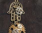 Steampunk Hamsa Hand Pendant
