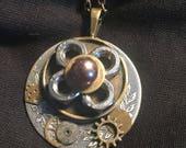 Steampunk pretty as a flower pendant