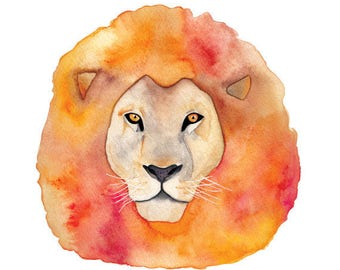Lion Watercolor Print (FREE U.S. Shipping)