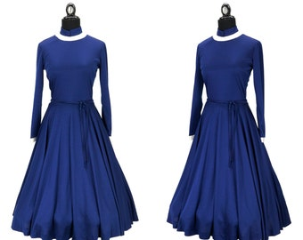 Vintage 1970s Navy Blue and White Full Skirt Dress by Victor Costa Size M
