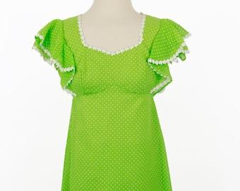 Vintage Deadstock Vintage 1960s Green White Polka Dot Dress by Emma Domb Size 7 / S