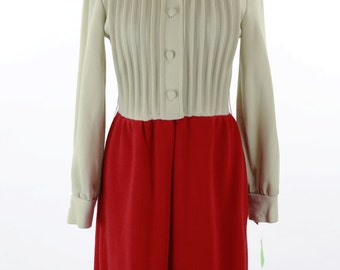 Vintage 1960s Tan and Red Frederick Nelson Dress Size M