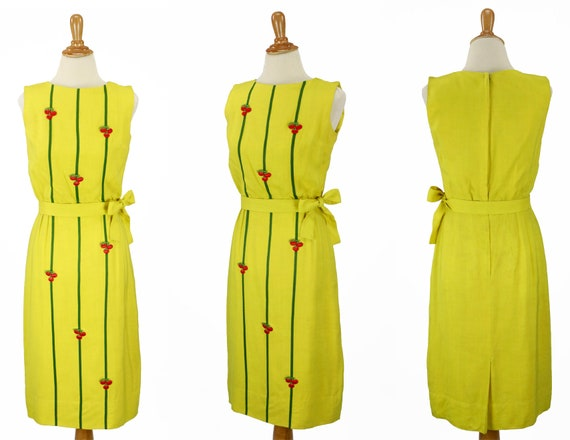Vintage 1950s Bright Yellow Wiggle Dress Size XS - image 1