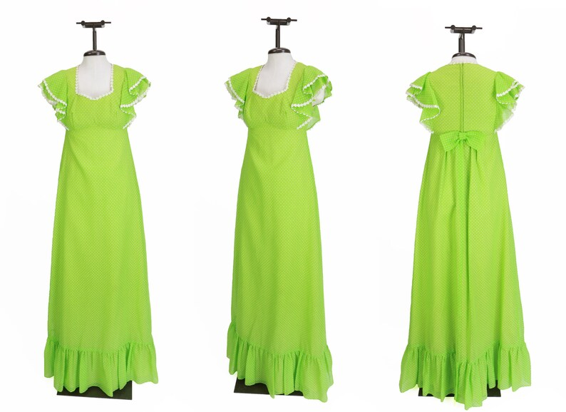 Vintage Deadstock Vintage 1960s Green White Polka Dot Dress by Emma Domb  Size XS