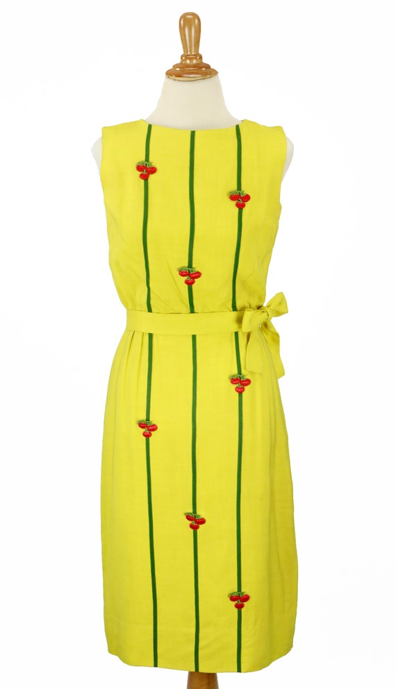 Vintage 1950s Bright Yellow Wiggle Dress Size XS - image 2