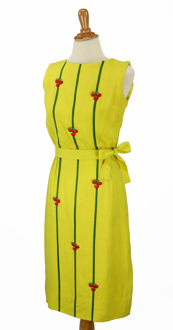 Vintage 1950s Bright Yellow Wiggle Dress Size XS - image 4