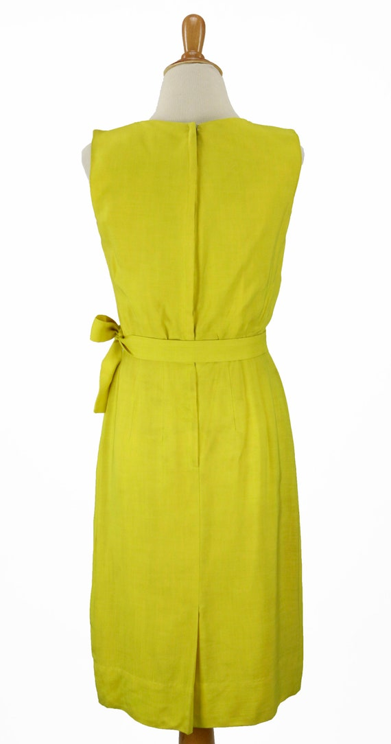 Vintage 1950s Bright Yellow Wiggle Dress Size XS - image 6