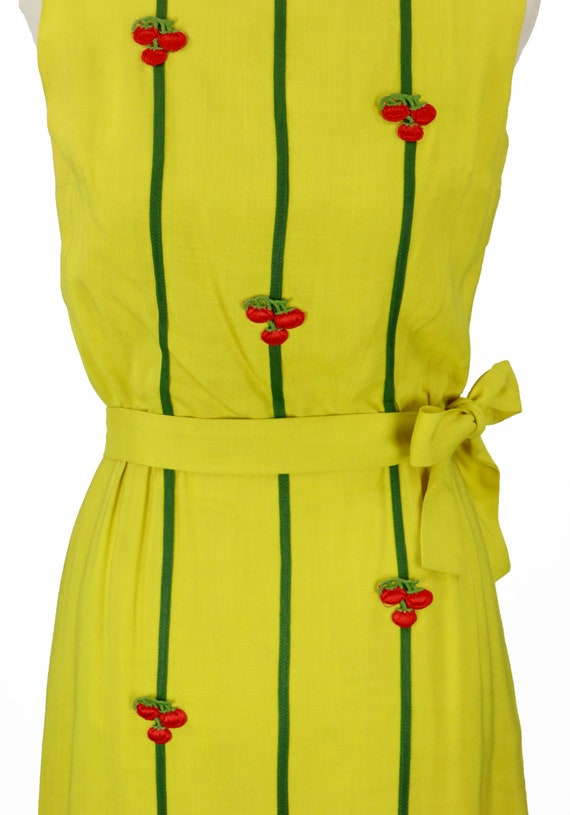 Vintage 1950s Bright Yellow Wiggle Dress Size XS - image 3