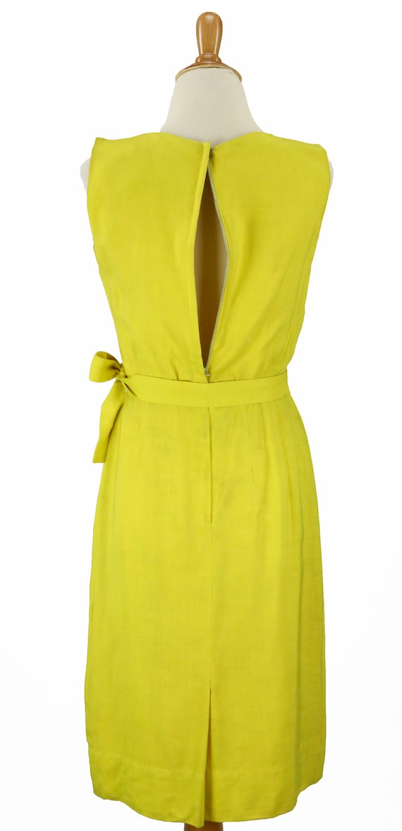 Vintage 1950s Bright Yellow Wiggle Dress Size XS - image 7