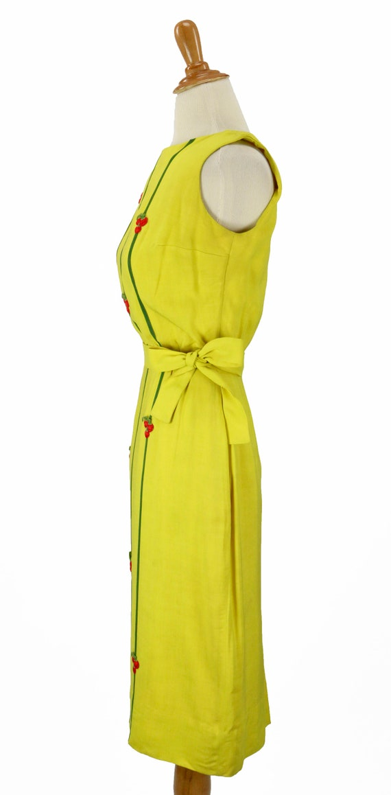 Vintage 1950s Bright Yellow Wiggle Dress Size XS - image 5