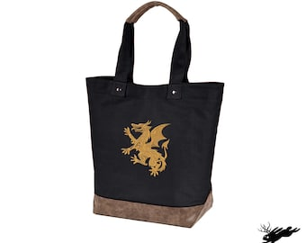 Dragon Embroidered Canvas Tote with Vegan Leather Accents A Book a Day Keeps Reality Away
