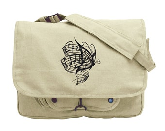 Nature's Harmony Embroidered Canvas Messenger Bag