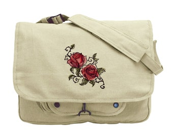 Painted Rose Embroidered Canvas Messenger Bag
