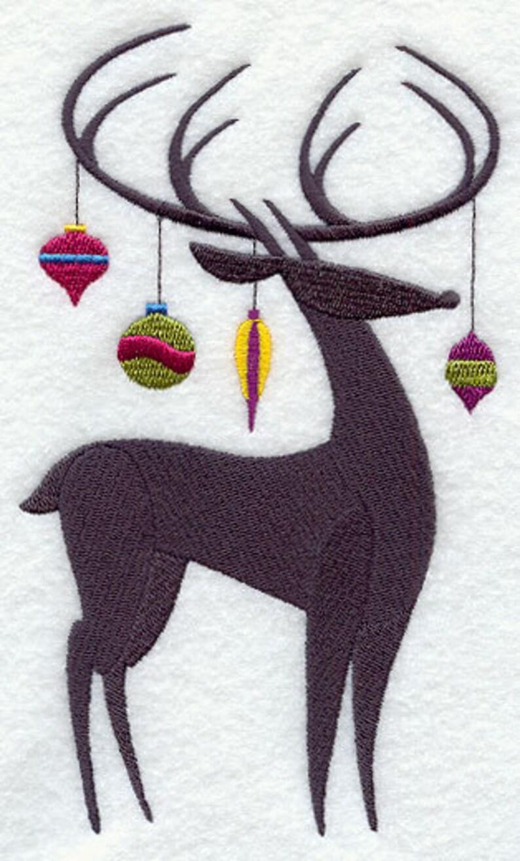 Christmas Deer Silhouette Embroidered Canvas Messenger Bag