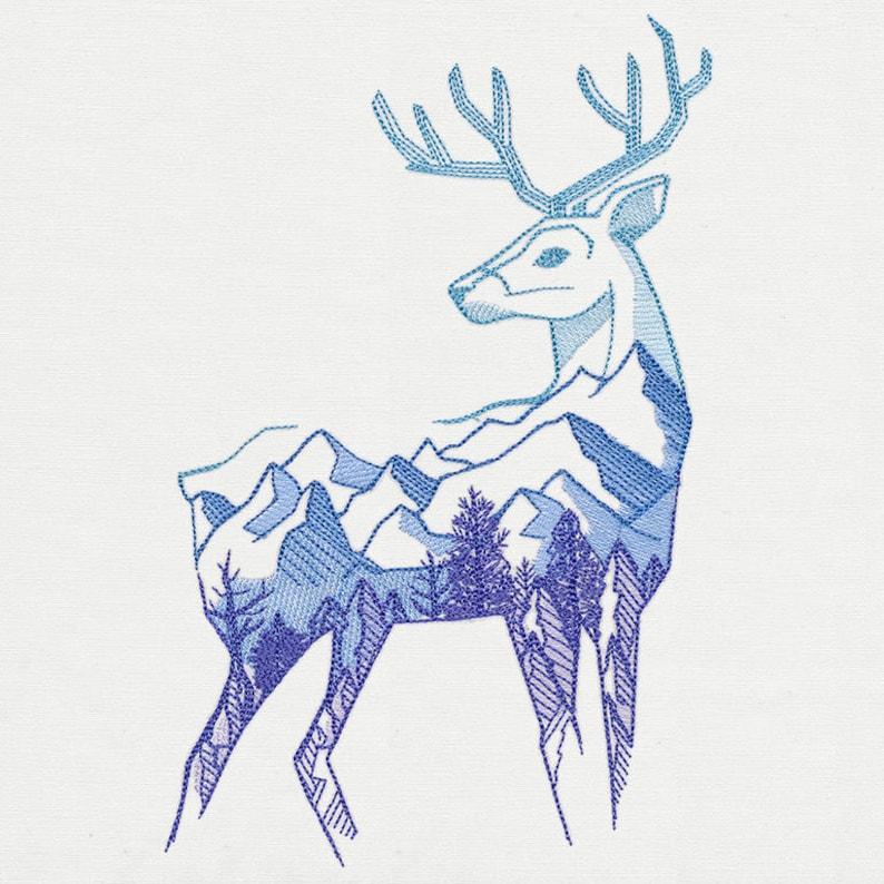 Naturalis Wild Deer Embroidered Fleece Micro Mink Sherpa Blanket