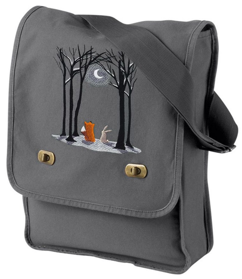 Moonlit Winter Embroidered Canvas Field Bag