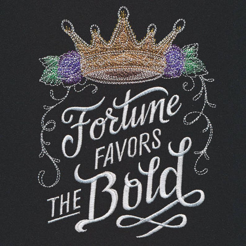 Fortune Favors the Bold Embroidered Canvas Messenger Bag Crown Messenger Bag Bold Thoughts