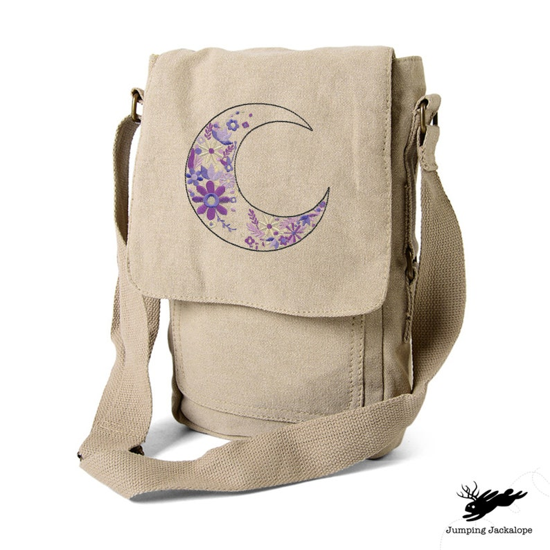 Camera Bag Kindle iPad Tablet Lunar Bloom Tech Bag Embroidered Canvas Tech Fire