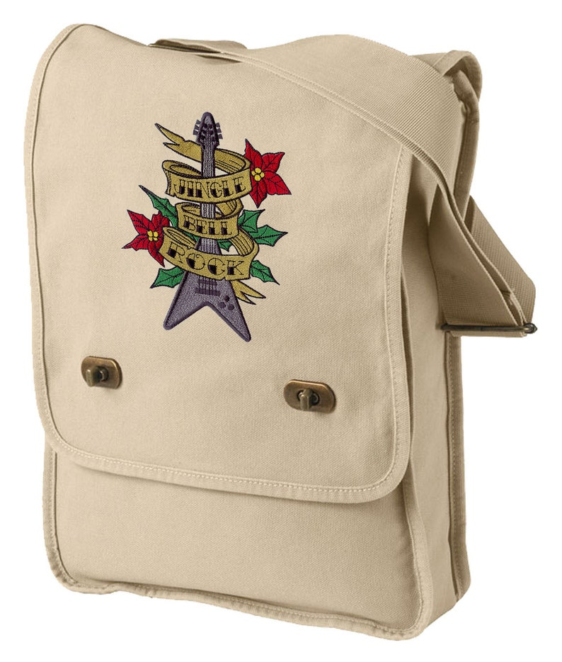 Tattoo Christmas Jingle Bell Rock Embroidered Canvas Field Bag