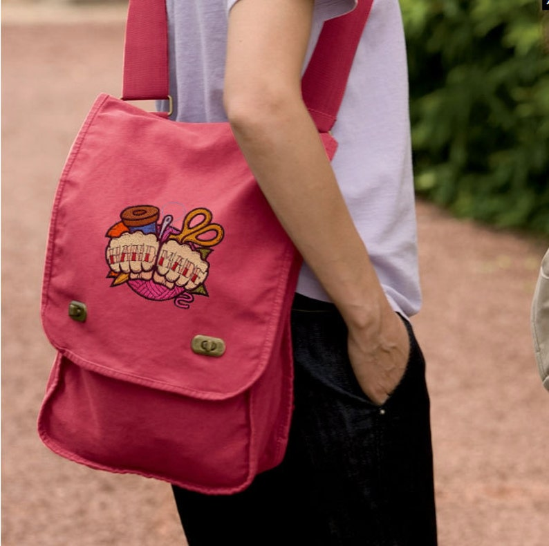 I Love Coffee Robot Embroidered Canvas Field Bag Robot Mesenger Bag Robot Bag