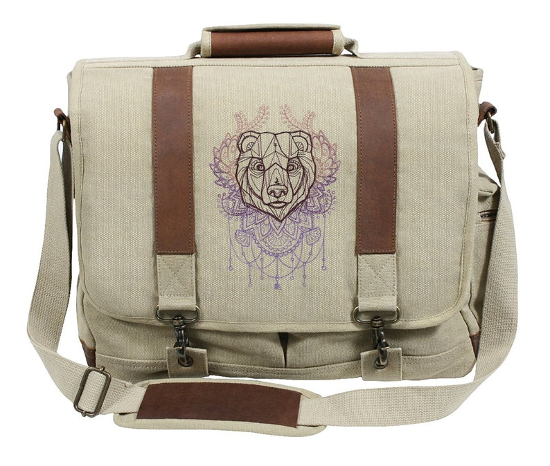 Anima Bear Embroidered Canvas with Leather Accents Premium Laptop Bag