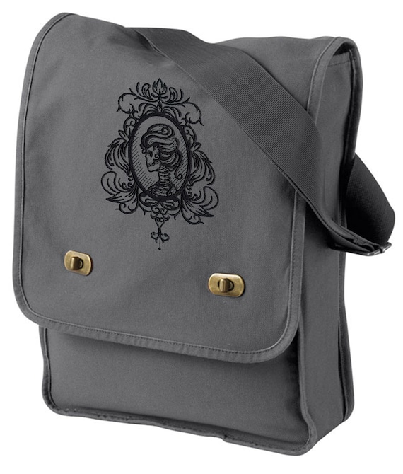 Gothic Gala Skull Cameo Embroidered Canvas Field Bag  f84536d224b58