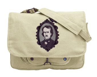 Poe Cameo Embroidered Canvas Messenger Bag