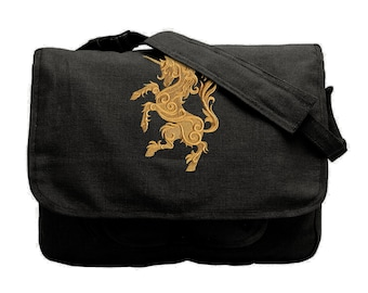 Gilded Heraldry - Unicorn Embroidered Canvas Messenger Bag