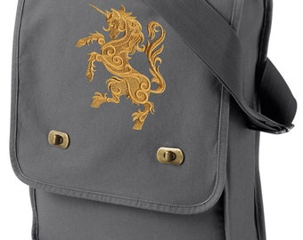 Unicorn Embroidered Canvas Field Bag, Gilded Heraldry - Unicorn Embroidered Canvas Field Bag