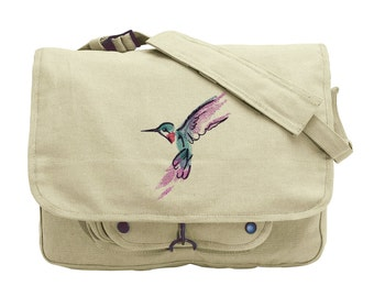 Painted Hummingbird Embroidered Canvas Messenger Bag